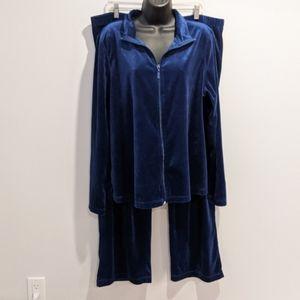 Navy blue velour track suit XXL